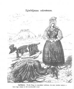 Risba iz Brenclja prikazuje olajšanje ob vnovičnem prevzemu oblasti v Ljubljani